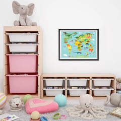 Ezposterprints - Kids' Dinosaurs World Map - 24x18 ambiance display photo sample