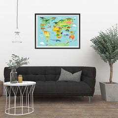 Ezposterprints - Kids' Dinosaurs World Map - 32x24 ambiance display photo sample