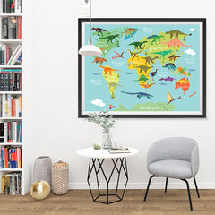 Ezposterprints - Kids' Dinosaurs World Map - 48x36 ambiance display photo sample