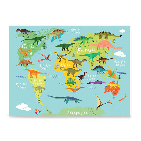 Ezposterprints - Kids' Dinosaurs World Map