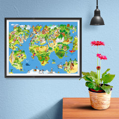 Ezposterprints - Kids' Animals Today World Map - 16x12 ambiance display photo sample
