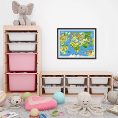 Ezposterprints - Kids' Animals Today World Map - 24x18 ambiance display photo sample