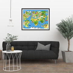 Ezposterprints - Kids' Animals Today World Map - 32x24 ambiance display photo sample