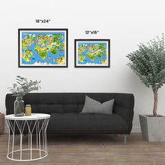 Ezposterprints - Kids' Animals Today World Map ambiance display photo sample