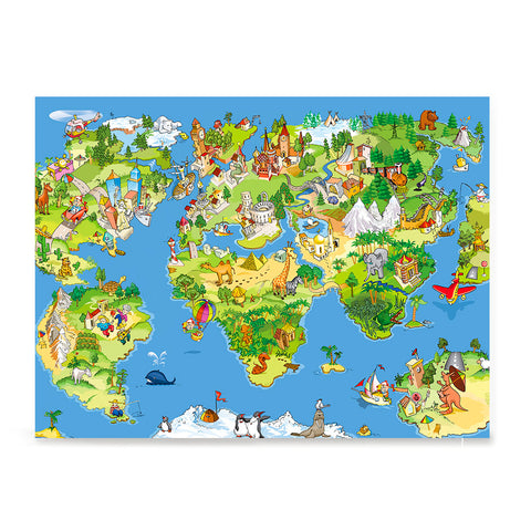 Ezposterprints - Kids' Animals Today World Map