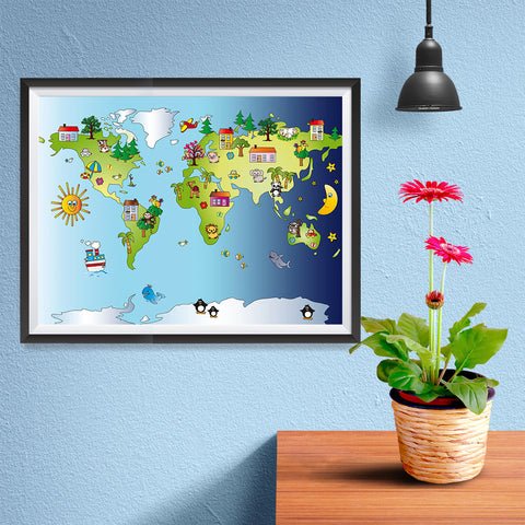 Ezposterprints - Kids' Animals Day-Night World Map - 16x12 ambiance display photo sample