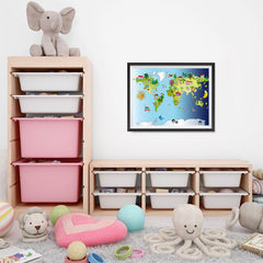 Ezposterprints - Kids' Animals Day-Night World Map - 24x18 ambiance display photo sample