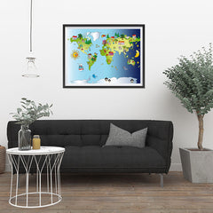Ezposterprints - Kids' Animals Day-Night World Map - 32x24 ambiance display photo sample