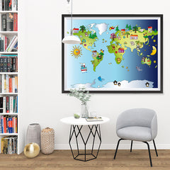 Ezposterprints - Kids' Animals Day-Night World Map - 48x36 ambiance display photo sample