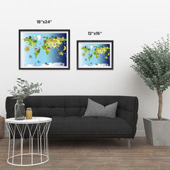 Ezposterprints - Kids' Animals Day-Night World Map ambiance display photo sample