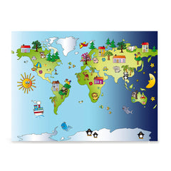 Ezposterprints - Kids' Animals Day-Night World Map