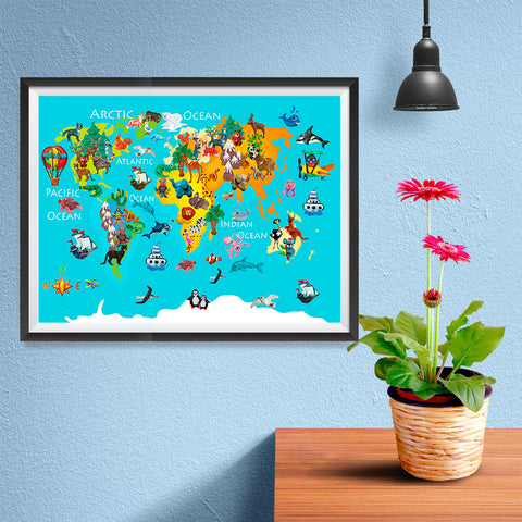 Ezposterprints - Kids' Animals World World Map - 16x12 ambiance display photo sample