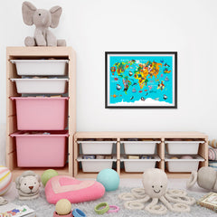 Ezposterprints - Kids' Animals World World Map - 24x18 ambiance display photo sample
