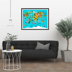 Ezposterprints - Kids' Animals World World Map - 32x24 ambiance display photo sample