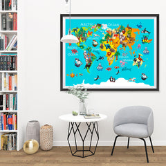 Ezposterprints - Kids' Animals World World Map - 48x36 ambiance display photo sample