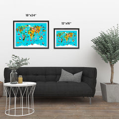 Ezposterprints - Kids' Animals World World Map ambiance display photo sample