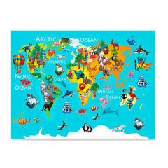 Ezposterprints - Kids' Animals World World Map