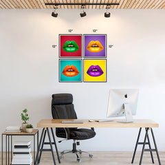 Ezposterprints - Pop Art Lips - Set of 4 - 12x12 ambiance display photo sample