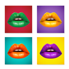 Ezposterprints - Pop Art Lips - Set of 4