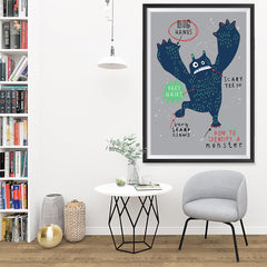 Ezposterprints - How To Identify A Monster? | The Cute Little Monsters Posters - 32x48 ambiance display photo sample