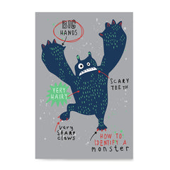 Ezposterprints - How To Identify A Monster? | The Cute Little Monsters Posters