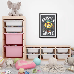 Ezposterprints - Monster Skate | The Cute Little Monsters Posters - 16x24 ambiance display photo sample