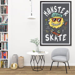 Ezposterprints - Monster Skate | The Cute Little Monsters Posters - 32x48 ambiance display photo sample