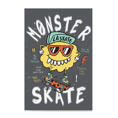 Ezposterprints - Monster Skate | The Cute Little Monsters Posters