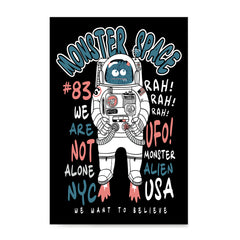 Ezposterprints - The Monster in Space, We Want To Believe | The Cute Little Monsters Posters