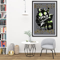Ezposterprints - Best Time Ever, Rock, Waves and Music | The Cute Little Monsters Posters - 32x48 ambiance display photo sample