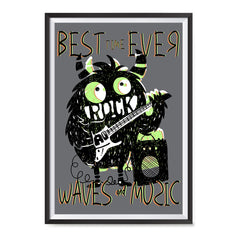 Ezposterprints - Best Time Ever, Rock, Waves and Music | The Cute Little Monsters Posters ambiance display photo sample