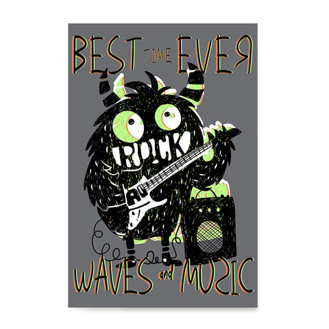 Ezposterprints - Best Time Ever, Rock, Waves and Music | The Cute Little Monsters Posters