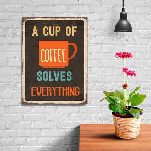 Ezposterprints - A Cup Of Coffee Black | Retro Metal Design Signs Posters - 12x16 ambiance display photo sample