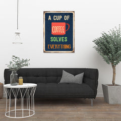 Ezposterprints - A Cup Of Coffee Navy | Retro Metal Design Signs Posters - 24x32 ambiance display photo sample