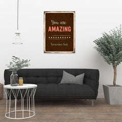 Ezposterprints - Amazing Brown | Retro Metal Design Signs Posters - 24x32 ambiance display photo sample