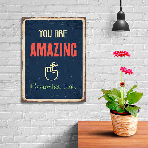 Ezposterprints - Amazing Navy | Retro Metal Design Signs Posters - 12x16 ambiance display photo sample