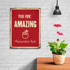 Ezposterprints - Amazing Red | Retro Metal Design Signs Posters - 12x16 ambiance display photo sample