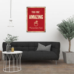 Ezposterprints - Amazing Red | Retro Metal Design Signs Posters - 24x32 ambiance display photo sample