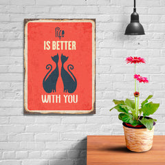 Ezposterprints - Better Life Red | Retro Metal Design Signs Posters - 12x16 ambiance display photo sample