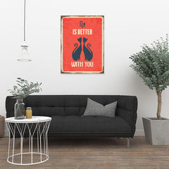 Ezposterprints - Better Life Red | Retro Metal Design Signs Posters - 24x32 ambiance display photo sample