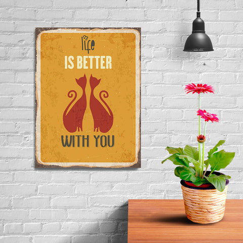 Ezposterprints - Better Life Yellow | Retro Metal Design Signs Posters - 12x16 ambiance display photo sample