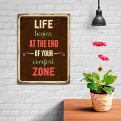 Ezposterprints - Comfort Zone Brown | Retro Metal Design Signs Posters - 12x16 ambiance display photo sample