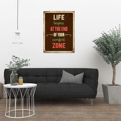 Ezposterprints - Comfort Zone Brown | Retro Metal Design Signs Posters - 24x32 ambiance display photo sample