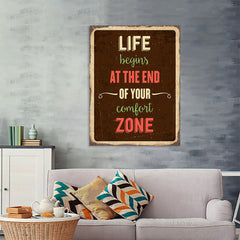 Ezposterprints - Comfort Zone Brown | Retro Metal Design Signs Posters - 36x48 ambiance display photo sample
