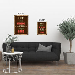Ezposterprints - Comfort Zone Brown | Retro Metal Design Signs Posters ambiance display photo sample