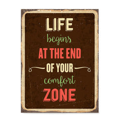 Ezposterprints - Comfort Zone Brown | Retro Metal Design Signs Posters