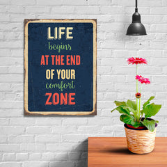 Ezposterprints - Comfort Zone Navy | Retro Metal Design Signs Posters - 12x16 ambiance display photo sample