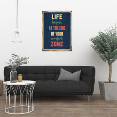 Ezposterprints - Comfort Zone Navy | Retro Metal Design Signs Posters - 24x32 ambiance display photo sample