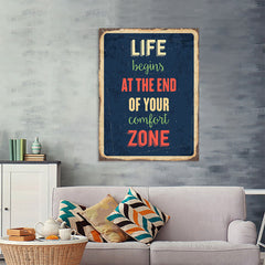 Ezposterprints - Comfort Zone Navy | Retro Metal Design Signs Posters - 36x48 ambiance display photo sample