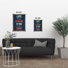 Ezposterprints - Comfort Zone Navy | Retro Metal Design Signs Posters ambiance display photo sample